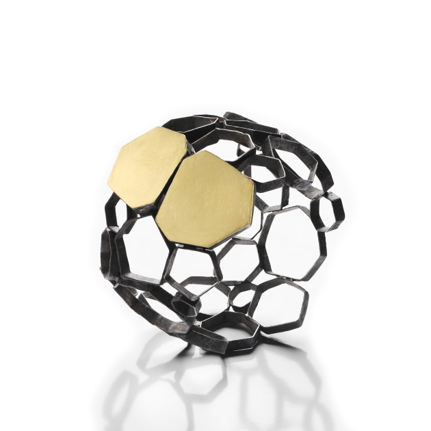 Gioielli in Fermento 2016 Gigi Mariani - bubble -bracelet - silver, 18kt yellow gold, niello, patina,2016