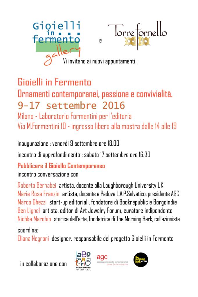 Gioielli in Fermento 2016 Premio Torre Fornello a Milano Laboratorio Formentini per l'editoria