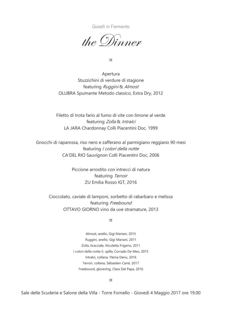 Gioielli in Fermento 2017 The Dinner - Torre Fornello - 4 Maggio 2017 Menù