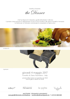 Gioielli in Fermento 2017 The Dinner